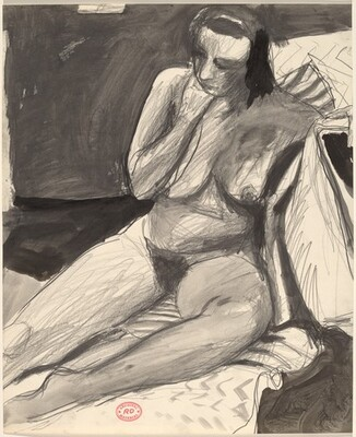 Untitled [female nude seated and leaning against a support]