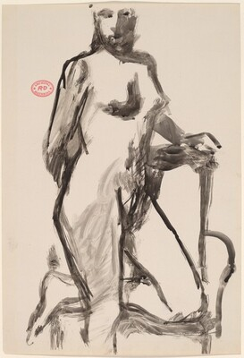 Untitled [standing nude resting her knee on a chair seat] [recto]
