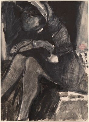 Untitled [seated woman crossing her arms on her knees]