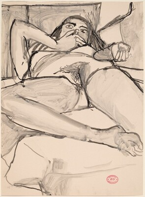 Untitled [reclining nude with her hand over her mouth]