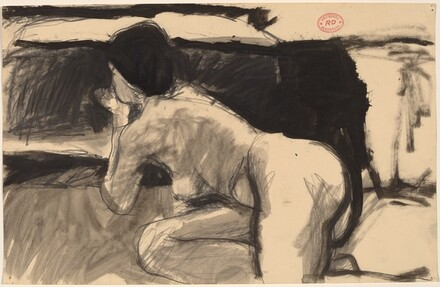 Untitled [reclining nude turned and resting on her elbows]