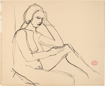 Untitled [seated nude resting her head on her left arm]