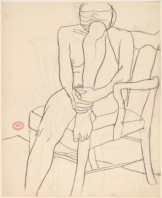 Untitled [seated nude with resting her head on her retracted leg] [recto]