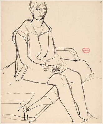Untitled [woman seated on a cot]
