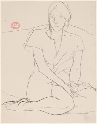 Untitled [woman seated with her legs tucked under her]
