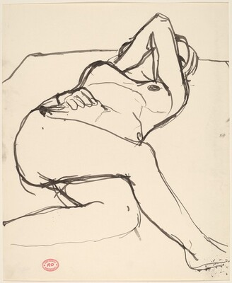 Untitled [reclining nude covering her face with her arm]