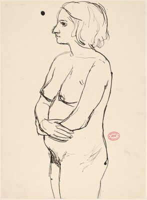 Untitled [standing nude with arms across her belly]