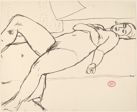 Untitled [nude reclining with her arm across her chest]