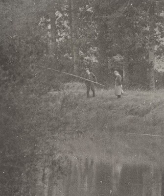 Couple Fishing from Bank of Seine