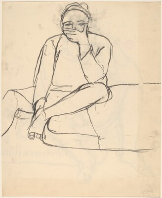 Untitled [woman seated at the edge of a cushion with hand covering her mouth]