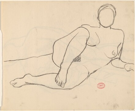 Untitled [reclining nude resting on her left arm] [recto]
