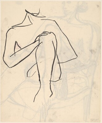 Untitled [detail of a model resting her hand on her knee] [recto]