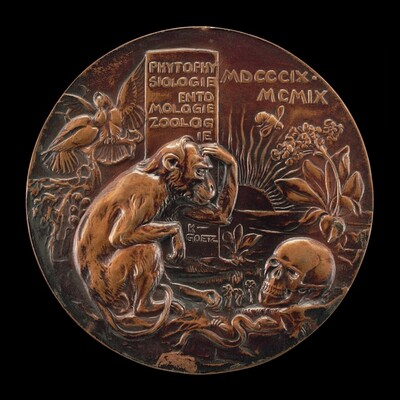 Monkey Contemplating a Human Skull in a Landscape [reverse]