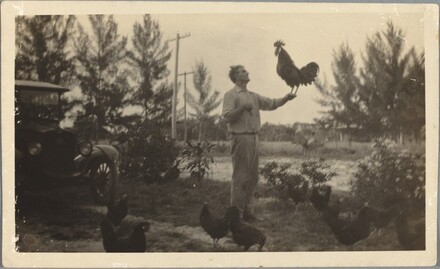 Charlie and rooster crowing