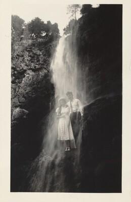 Double Expose - Snapshot Showing Zim & Rita in Multnomah Falls, Old Oregon Trail 7/16 - 29/37 Oregon 7/25/37 Portland, Fleet-Week
