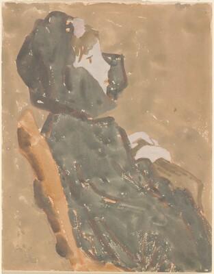 Seated Girl in a High Collared Cloak