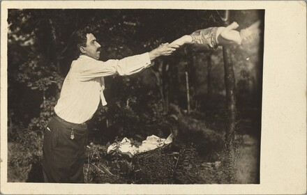 Untitled (Man tossing baby in woods)