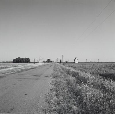 Landscape-Road and Two Grain Elevators-Near Kinsley, Kansas