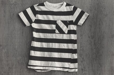 Striped T-shirt on Plywood