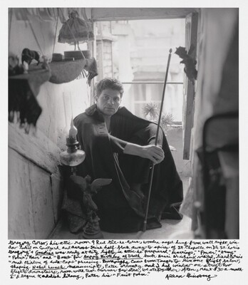 "Gregory Corso, his attic room 9 Rue Gît-le-Coeur, wooden angel hung from wall right, window looked on courtyard and across Seine halfblock away to spires of St. Chapelle on Ile St. Louis. Gregory's Gasoline was ready at City Lights, in attic he prepared ""Marriage,"" ""Power,"" ""Army,"" ""Police,"" ""Hair"" and ""Bomb"" for Happy Birthday of Death book. Henri Michaux visited, liked Corso's ""mad children of soda-caps"" phrasing Burroughs came from Tanger to live one flight below, shaping Naked Lunch manuscript, Peter Orlovsky and I had window on street two flights downstairs, room with two-burner gas stove, we ate together often, rent $30 a month. I'd begun Kaddish litany, Peter his ""Frist Poem."""