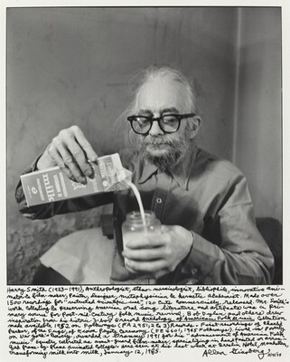 Harry Smith (1923-1991), Anthropologist, entho-musicologist, bibliophile, innovative animator & film-maker, painter, designer, metaphysician & hermetic alchemist. Made over 1500 recordings for restricted scientific use, 120 cuts commercially released. Mr. Smith's work collecting and preserving American oral song literature and artifacts was a primary source for post-mid-century folk music revival; Bob Dylan and others drew inspiration from his historic 3-box 6-record Anthology of American Folk Music [title underlined] Collection made available 1952 on Folkways (FA 2951, 2&3) Records. First recordings of Charlie Parker, of the Fugs, of the Kiowa Peyote Ceremony (FE 4601, 1965 Folkways). Lived in poverty on New York's Bowery, awarded a Grammy 1991 for his advancement of American Folk Music. Equally celebrated as avant-garde film-maker.