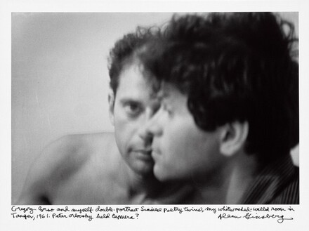 Gregory Corso and myself double-portrait Siamese poetry twins, my whitewashed-walled room in Tanger, 1961. Peter Orlovsky held camera?