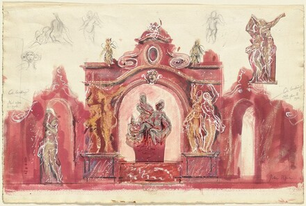An Elaborate Stage Design with Arches and Statuary