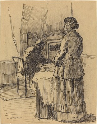A Man and Woman in an Interior