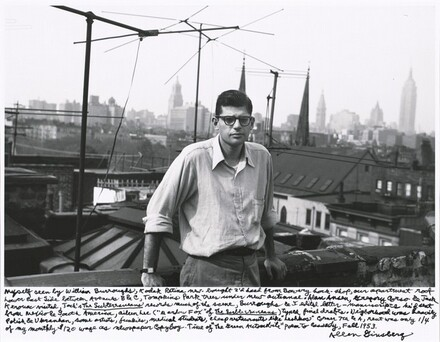 """Myself seen by William Burroughs, Kodak Retina new-bought 2'd hand from Bowery hock-shop, our apartment roof Lower East Side between Avenues B & C, Tompkins Park trees under new antennae. Alan Ansen, Gregory Corso & Jack Kerouac visited, Jack's The Subterraneans records much of the scene, Burroughs & I edited letter-manuscripts he'd sent from Mexico & South America, Alene Lee (""""Mardou Fox"""" of The Subterraneans) typed final drafts. Neighborhood was heavily Polish & Ukranian, some artists, junkies, medical students, cheap restaurants like """"Leshkos"""" corner 7th & A, rent was only ¼ of my monthly $120 wage as newspaper copyboy. Time of """"The Green Automobile"""" poem to Cassady, Fall 1953."""