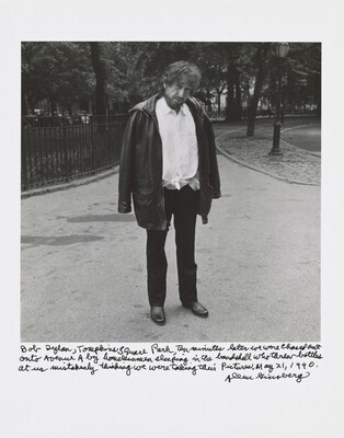 Bob Dylan, Tompkins Square Park, ten minutes later we were chased out onto Avenue A by homeless men sleeping in the bandshell who threw bottles at us mistakenly thinking we were taking their pictures. May 21, 1990.