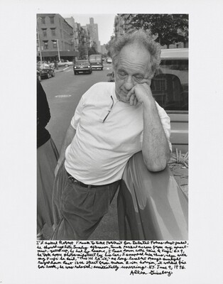 """I'd asked Robert Frank to take portrait for Selected Poems dust jacket, he showed up late Sunday afternoon, truck parked across from my apartment, yelled up, he had no camera. I came down with Leica & Fuji 6×9, he took some photos midstreet by his car, I snapped him thus, then with my Fuji he said, """"This'll be it,"""" as long lambent orange sunlight rayed down East 12th Street from Hudson River horizon, it worked fine for book, he was relaxed, accidentally unerring. N.Y. June 9, 1996."""