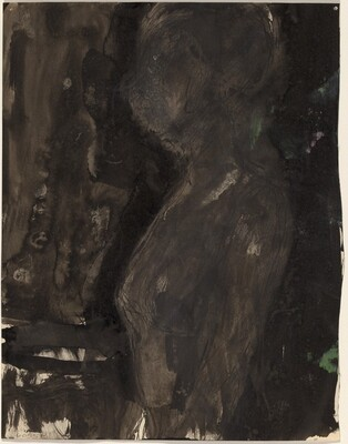 Untitled [profile of a female figure in a dark setting] [verso]