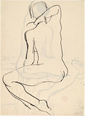 Untitled [back view of a nude holding her neck with her right hand] [verso]