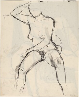 Untitled [seated female nude with right arm raised] [verso]