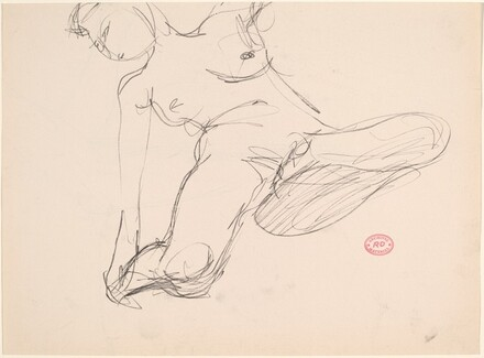 Untitled [female nude reaching for right ankle] [verso]