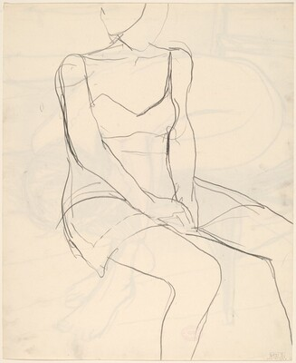 Untitled [seated woman with hands in lap] [verso]
