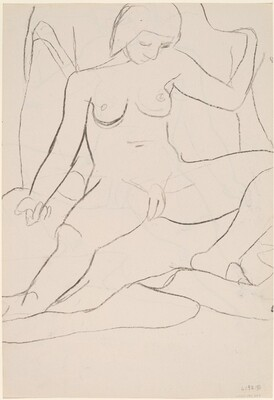 Untitled [seated female nude with legs apart] [verso]