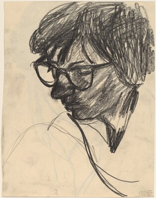 Untitled [woman wearing eyeglasses in three-quarter view] [verso]