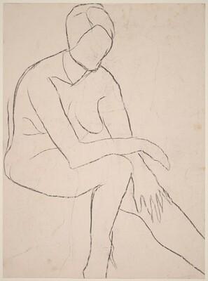 Untitled [seated female nude resting arm on left knee] [verso]