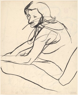 Untitled [side view of seated woman] [verso]