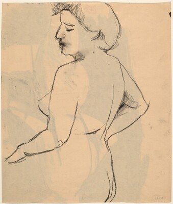 Untitled [side view of a nude female with her eyes closed] [verso]