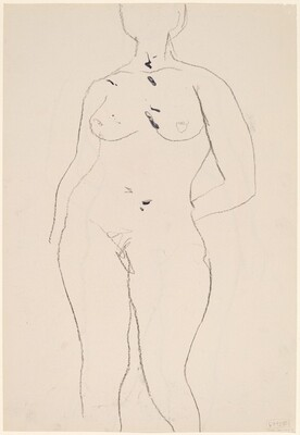 Untitled [front view of nude with left hand behind her back] [verso]