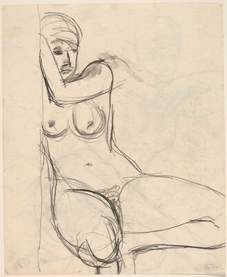 Untitled [female nude squatting beside a wall] [verso]