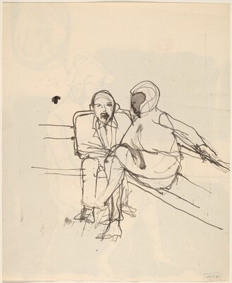 Untitled [a woman and a man seated together] [verso]