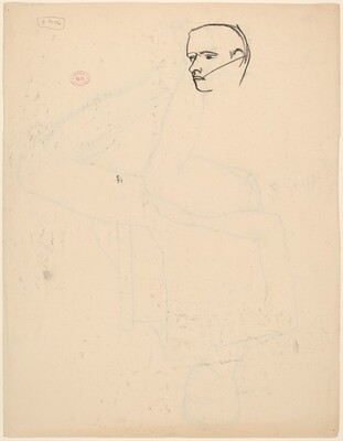 Untitled [detail of a man's head] [verso]