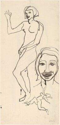 Untitled [studies of a female figure and head] [verso]