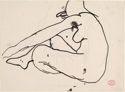 Untitled [side view of seated female nude] [verso]