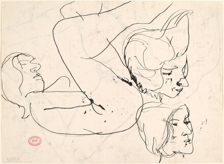 Untitled [study of a female nude with two head studies] [verso]