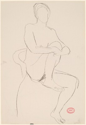 Untitled [seated female nude with leg pulled into chair] [rverso]