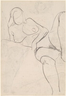 Untitled [reclining nude in stockings resting on her right arm] [verso]